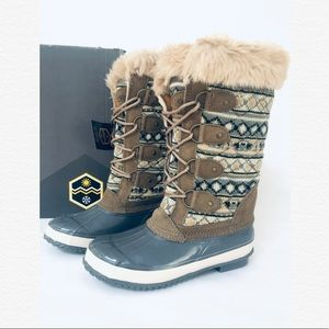 KHOMBU ANDIE GREY WATERPROOF FAUX FUR SNOW BOOTS